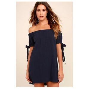 Al Fresco Evenings Navy Blue Off Shoulder Dress- S